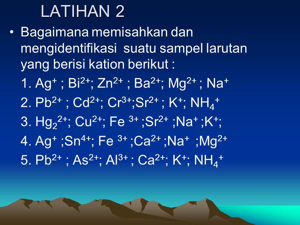 LATIHAN 2 Bagaimana memisahkan dan mengidentifikasi suatu sampel larutan yang berisi kation berikut : 1. Ag + ; Bi 2+ ; Zn 2+ ; Ba 2+ ; Mg 2+ ; Na + 2