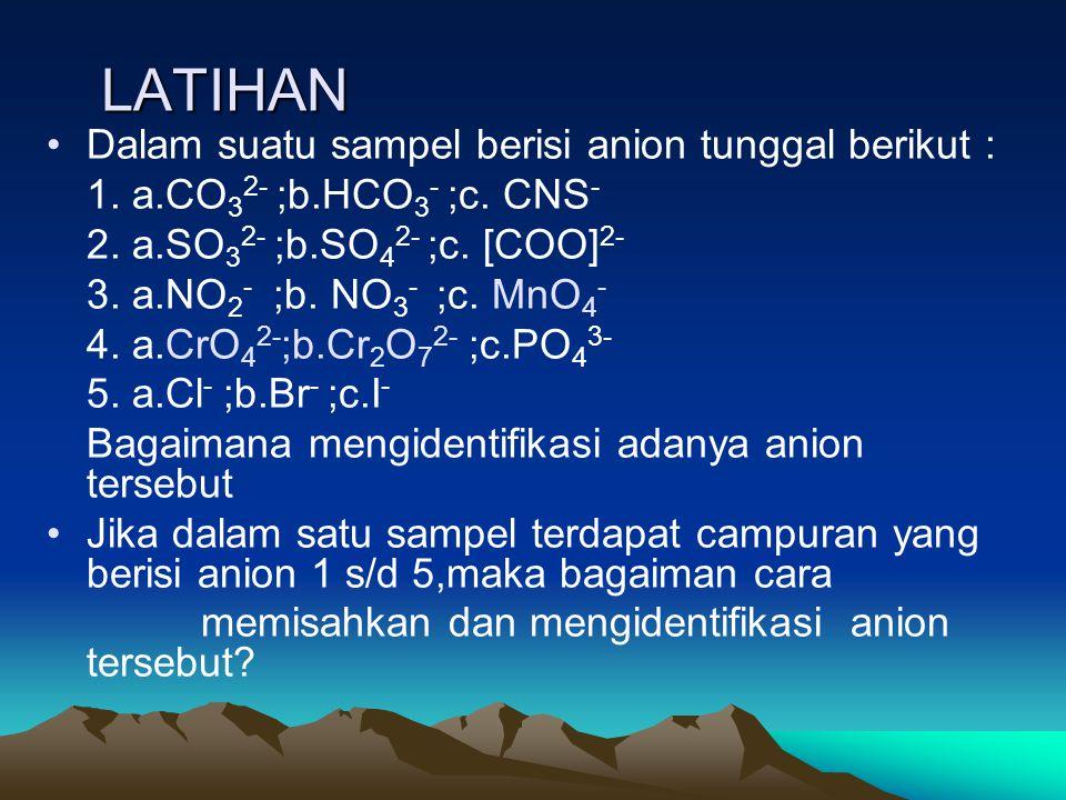 LATIHAN Dalam suatu sampel berisi anion tunggal berikut : 1.