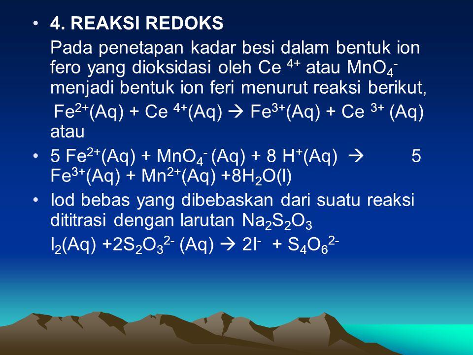 4. REAKSI REDOKS Pada penetapan kadar besi dalam bentuk ion fero yang dioksidasi oleh Ce 4+ atau MnO 4 - menjadi bentuk ion feri menurut reaksi beriku