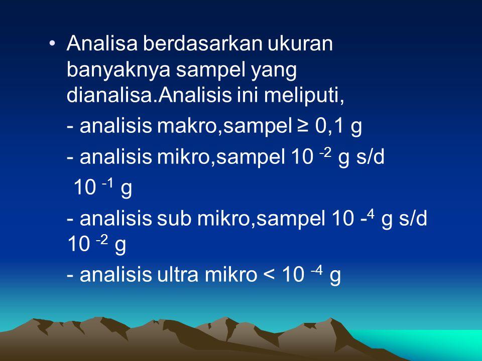 Analisa berdasarkan ukuran banyaknya sampel yang dianalisa.Analisis ini meliputi, - analisis makro,sampel ≥ 0,1 g - analisis mikro,sampel 10 -2 g s/d 10 -1 g - analisis sub mikro,sampel 10 - 4 g s/d 10 -2 g - analisis ultra mikro < 10 -4 g
