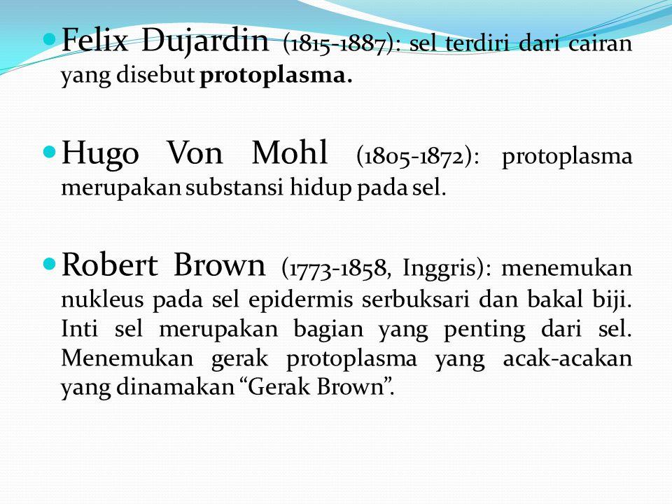 Felix Dujardin (1815-1887): sel terdiri dari cairan yang disebut protoplasma. Hugo Von Mohl (1805-1872): protoplasma merupakan substansi hidup pada se