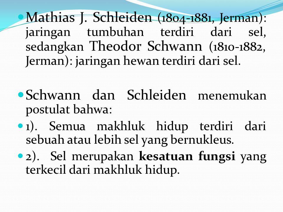 Mathias J. Schleiden (1804-1881, Jerman): jaringan tumbuhan terdiri dari sel, sedangkan Theodor Schwann (1810-1882, Jerman): jaringan hewan terdiri da
