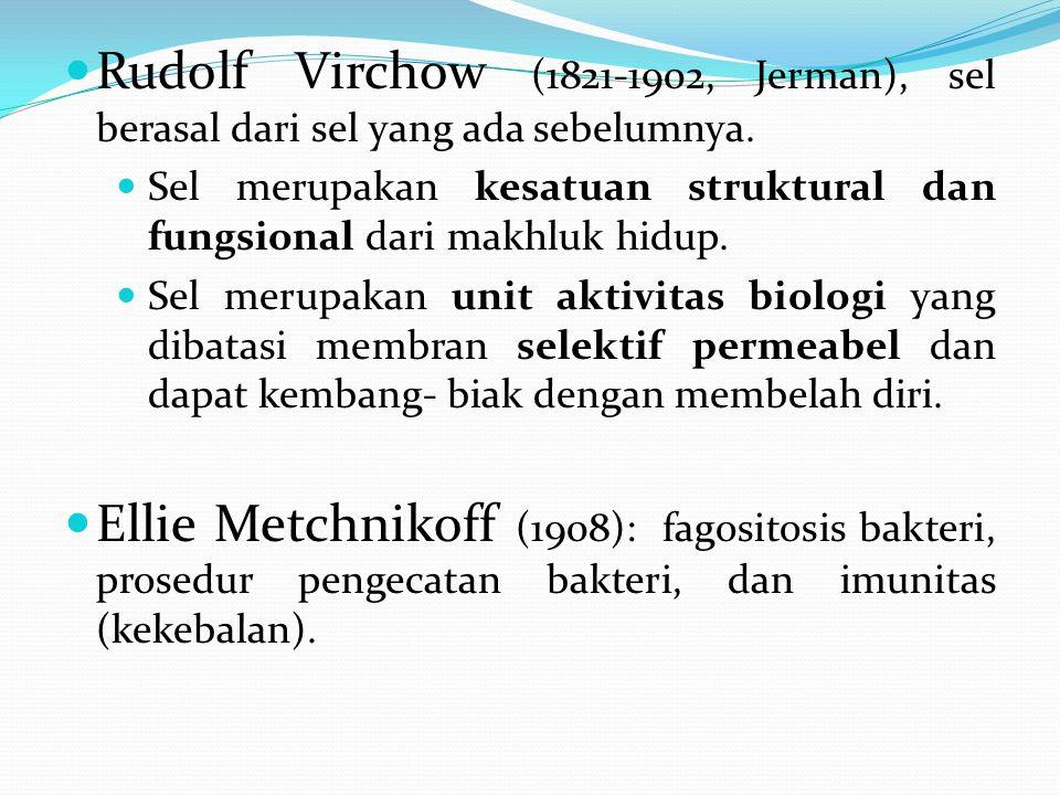 Rudolf Virchow (1821-1902, Jerman), sel berasal dari sel yang ada sebelumnya. Sel merupakan kesatuan struktural dan fungsional dari makhluk hidup. Sel