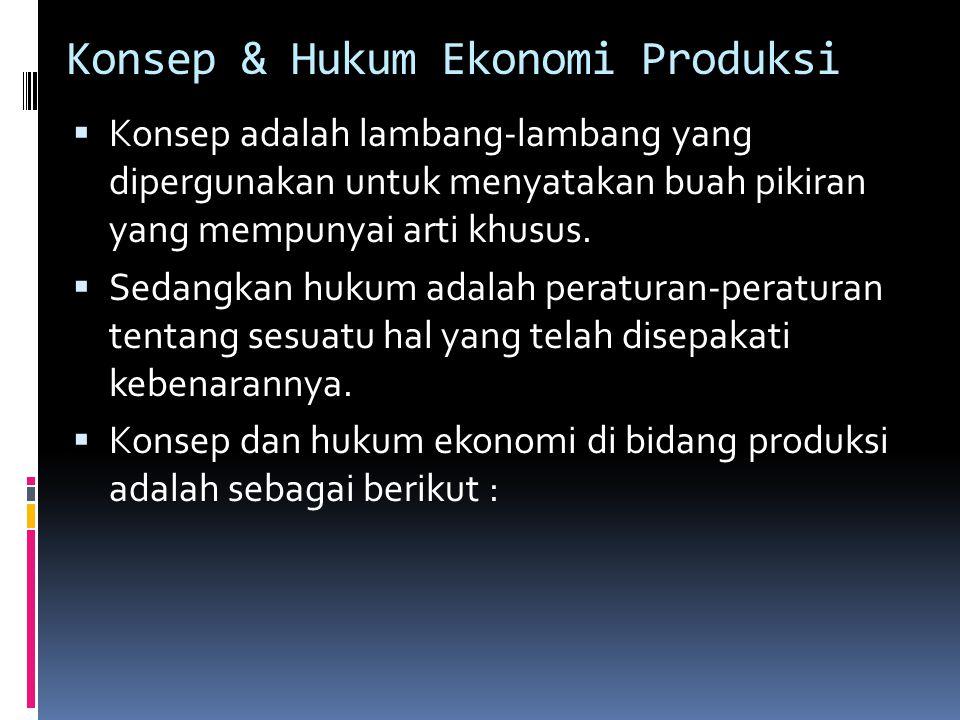 Konsep & Hukum Ekonomi Produksi  Konsep adalah lambang-lambang yang dipergunakan untuk menyatakan buah pikiran yang mempunyai arti khusus.  Sedangka