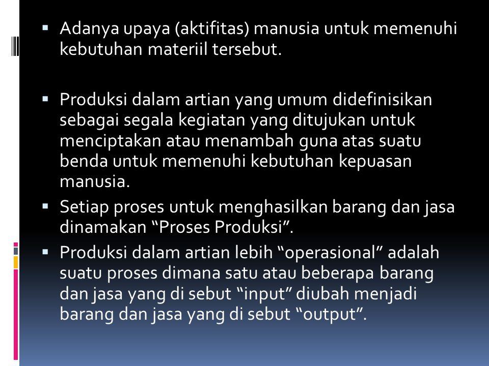  Banyak jenis kegiatan yang terjadi dalam proses produksi karena ada perubahan bentuk, tempat, dan waktu penggunaan hasil-hasil produksi.