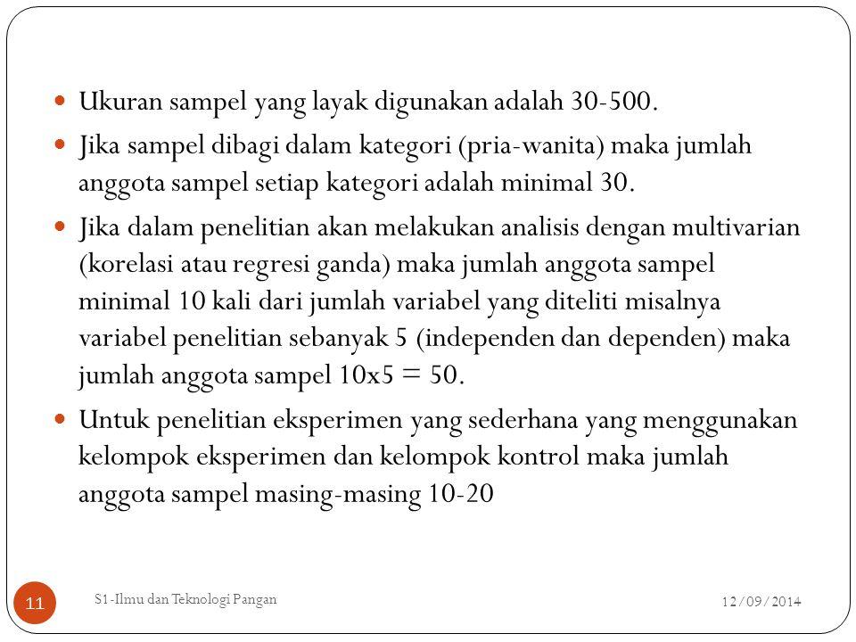 Ukuran sampel yang layak digunakan adalah 30-500. Jika sampel dibagi dalam kategori (pria-wanita) maka jumlah anggota sampel setiap kategori adalah mi