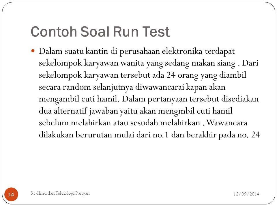 Contoh Soal Run Test Dalam suatu kantin di perusahaan elektronika terdapat sekelompok karyawan wanita yang sedang makan siang. Dari sekelompok karyawa