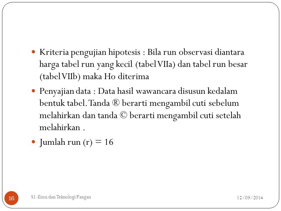 Kriteria pengujian hipotesis : Bila run observasi diantara harga tabel run yang kecil (tabel VIIa) dan tabel run besar (tabel VIIb) maka Ho diterima P