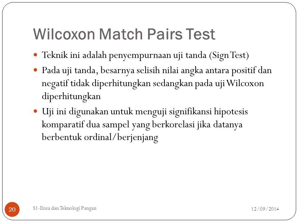 Wilcoxon Match Pairs Test Teknik ini adalah penyempurnaan uji tanda (Sign Test) Pada uji tanda, besarnya selisih nilai angka antara positif dan negati