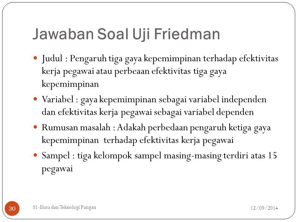 Jawaban Soal Uji Friedman Judul : Pengaruh tiga gaya kepemimpinan terhadap efektivitas kerja pegawai atau perbeaan efektivitas tiga gaya kepemimpinan