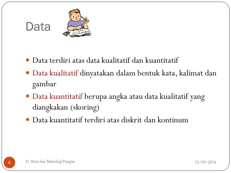 Data Data terdiri atas data kualitatif dan kuantitatif Data kualitatif dinyatakan dalam bentuk kata, kalimat dan gambar Data kuantitatif berupa angka