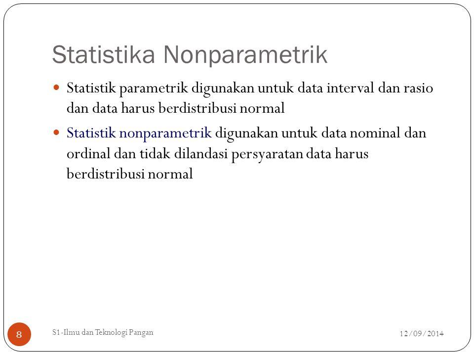 Statistika Nonparametrik Statistik parametrik digunakan untuk data interval dan rasio dan data harus berdistribusi normal Statistik nonparametrik digu