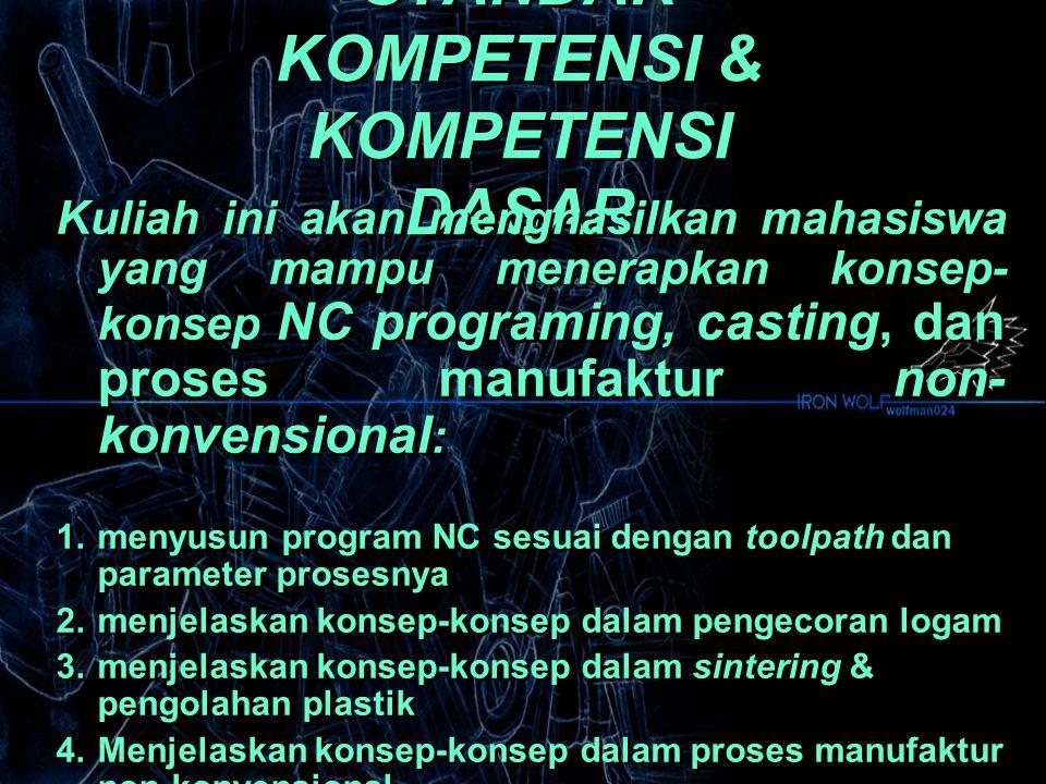 STANDAR KOMPETENSI & KOMPETENSI DASAR Kuliah ini akan menghasilkan mahasiswa yang mampu menerapkan konsep- konsep NC programing, casting, dan proses manufaktur non- konvensional : 1.menyusun program NC sesuai dengan toolpath dan parameter prosesnya 2.menjelaskan konsep-konsep dalam pengecoran logam 3.menjelaskan konsep-konsep dalam sintering & pengolahan plastik 4.Menjelaskan konsep-konsep dalam proses manufaktur non-konvensional Kuliah ini akan menghasilkan mahasiswa yang mampu menerapkan konsep- konsep NC programing, casting, dan proses manufaktur non- konvensional : 1.menyusun program NC sesuai dengan toolpath dan parameter prosesnya 2.menjelaskan konsep-konsep dalam pengecoran logam 3.menjelaskan konsep-konsep dalam sintering & pengolahan plastik 4.Menjelaskan konsep-konsep dalam proses manufaktur non-konvensional