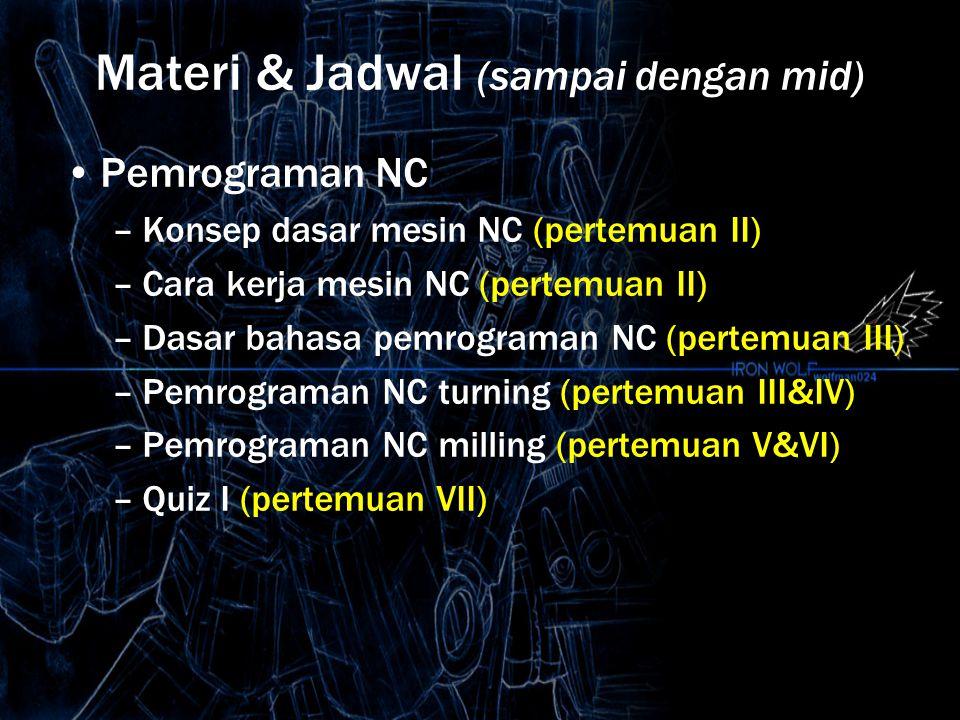 Materi & Jadwal (sampai dengan mid) Pemrograman NC –Konsep dasar mesin NC (pertemuan II) –Cara kerja mesin NC (pertemuan II) –Dasar bahasa pemrograman NC (pertemuan III) –Pemrograman NC turning (pertemuan III&IV) –Pemrograman NC milling (pertemuan V&VI) –Quiz I (pertemuan VII)