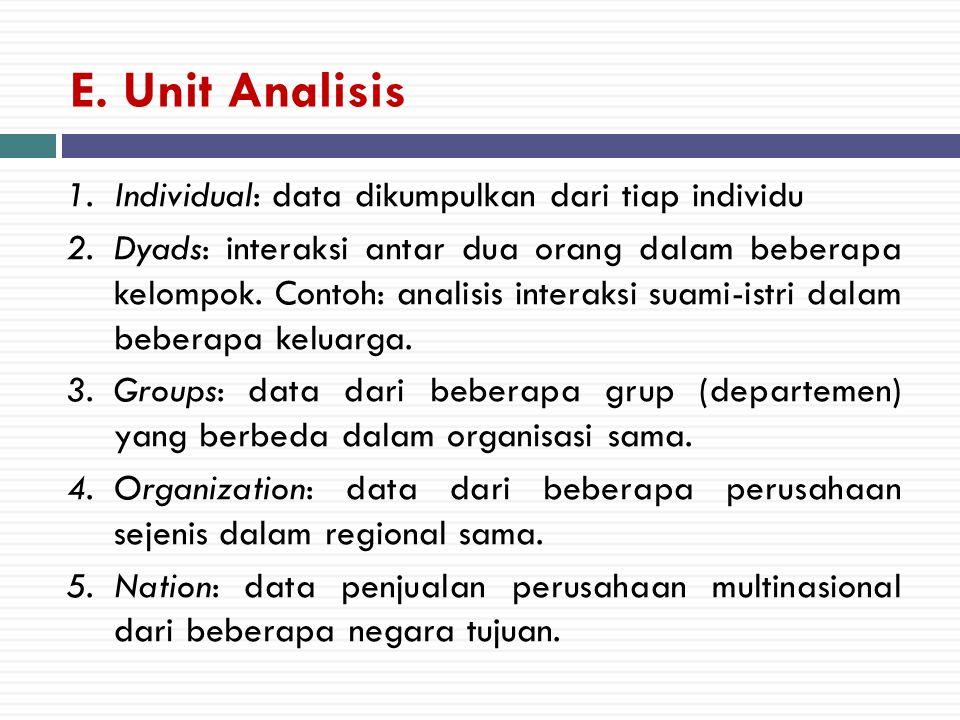 E. Unit Analisis 1.Individual: data dikumpulkan dari tiap individu 2.Dyads: interaksi antar dua orang dalam beberapa kelompok. Contoh: analisis intera