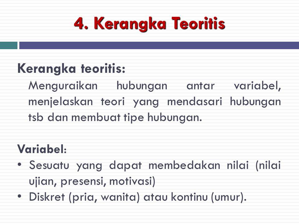 4. Kerangka Teoritis Kerangka teoritis: Menguraikan hubungan antar variabel, menjelaskan teori yang mendasari hubungan tsb dan membuat tipe hubungan.