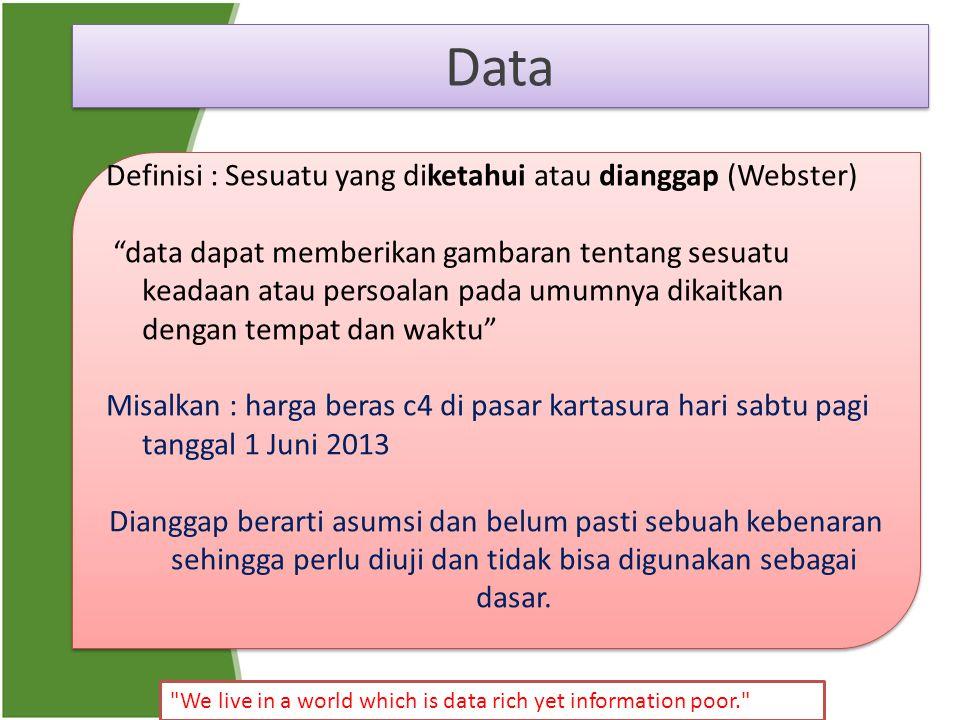 "Data Definisi : Sesuatu yang diketahui atau dianggap (Webster) ""data dapat memberikan gambaran tentang sesuatu keadaan atau persoalan pada umumnya dik"