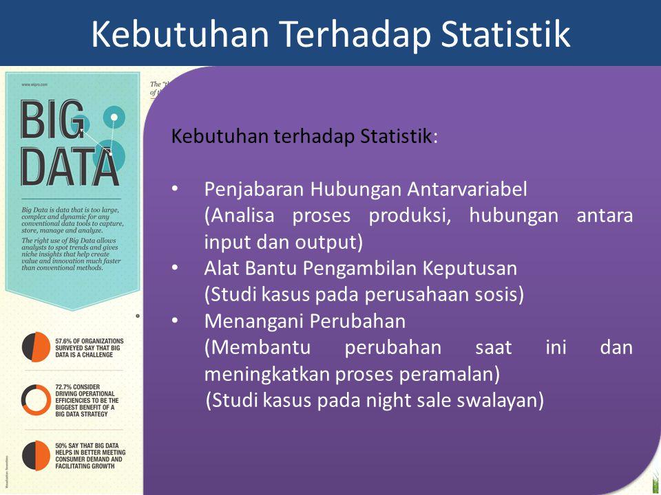 Kebutuhan terhadap Statistik: Penjabaran Hubungan Antarvariabel (Analisa proses produksi, hubungan antara input dan output) Alat Bantu Pengambilan Kep
