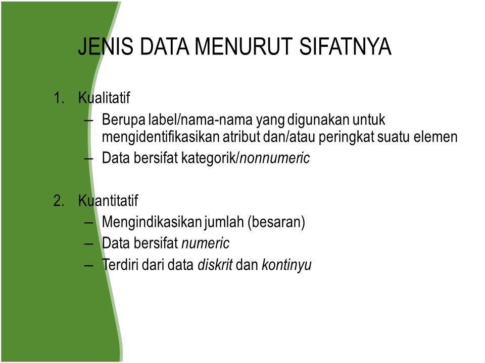 JENIS DATA MENURUT SIFATNYA 1.Kualitatif – Berupa label/nama-nama yang digunakan untuk mengidentifikasikan atribut dan/atau peringkat suatu elemen – D
