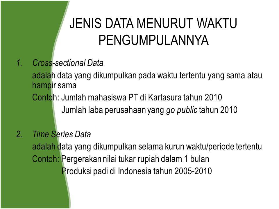 JENIS DATA MENURUT WAKTU PENGUMPULANNYA 1. Cross-sectional Data adalah data yang dikumpulkan pada waktu tertentu yang sama atau hampir sama Contoh: Ju