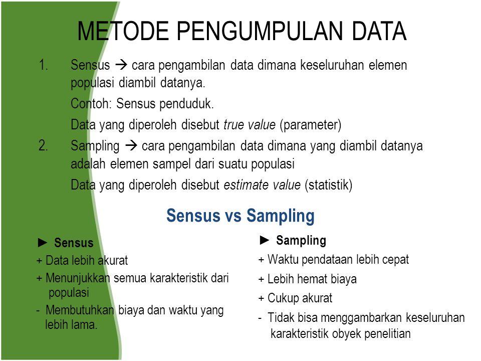 METODE PENGUMPULAN DATA 1.Sensus  cara pengambilan data dimana keseluruhan elemen populasi diambil datanya. Contoh: Sensus penduduk. Data yang dipero