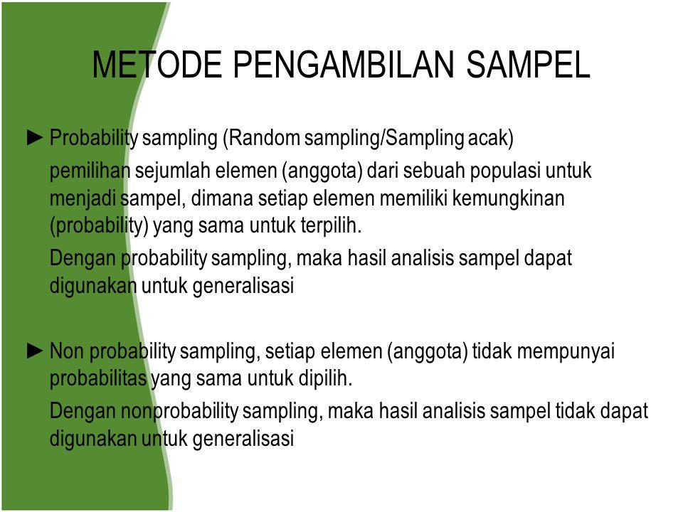 METODE PENGAMBILAN SAMPEL ► Probability sampling (Random sampling/Sampling acak) pemilihan sejumlah elemen (anggota) dari sebuah populasi untuk menjad