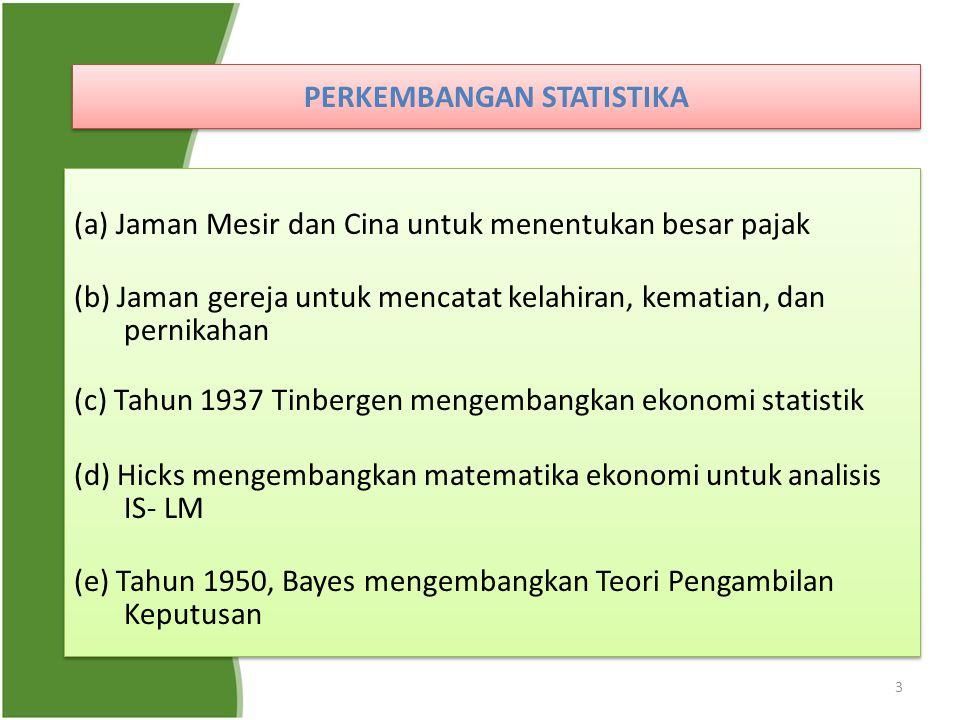 3 PERKEMBANGAN STATISTIKA (a) Jaman Mesir dan Cina untuk menentukan besar pajak (b) Jaman gereja untuk mencatat kelahiran, kematian, dan pernikahan (c