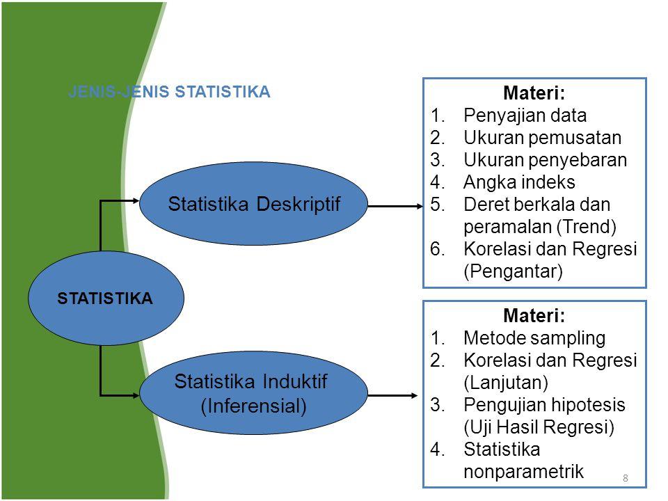 8 JENIS-JENIS STATISTIKA STATISTIKA Statistika Deskriptif Statistika Induktif (Inferensial) Materi: 1.Penyajian data 2.Ukuran pemusatan 3.Ukuran penye