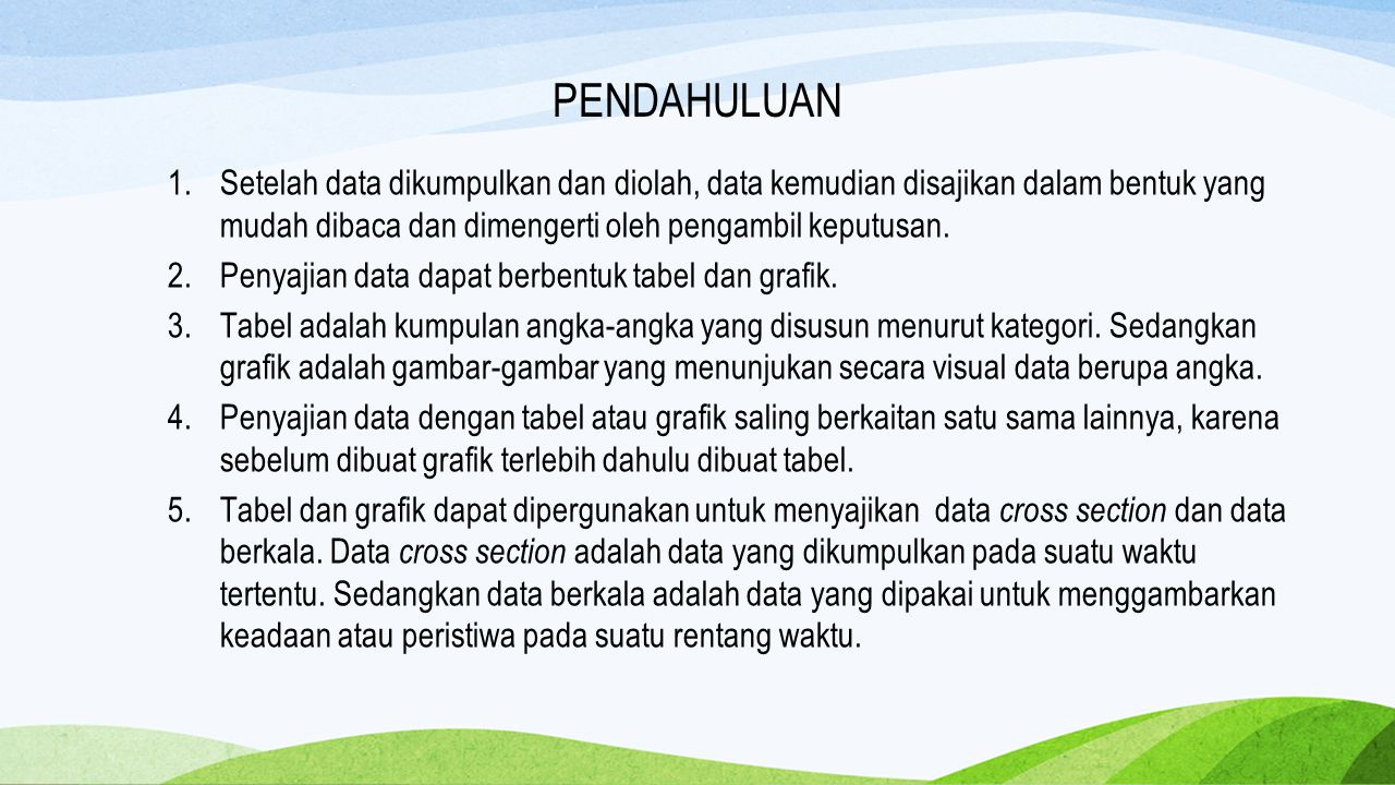 PENYAJIAN DATA Tabel Data Kualitatif Data Kuantitatif Gambar/Grafik Data Kualitatif Pie Chart Bar Chart Data Kuantitatif Histogram
