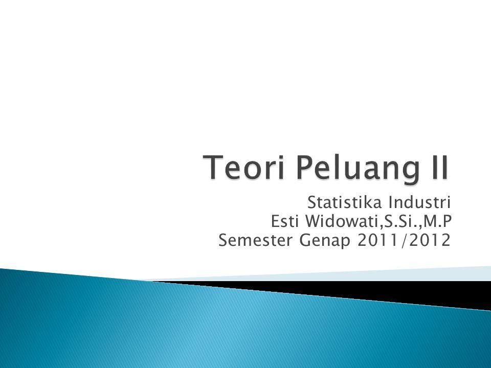 Statistika Industri Esti Widowati,S.Si.,M.P Semester Genap 2011/2012