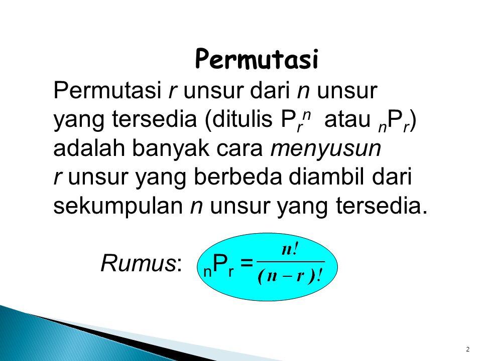 2 Permutasi Permutasi r unsur dari n unsur yang tersedia (ditulis P r n atau n P r ) adalah banyak cara menyusun r unsur yang berbeda diambil dari sek