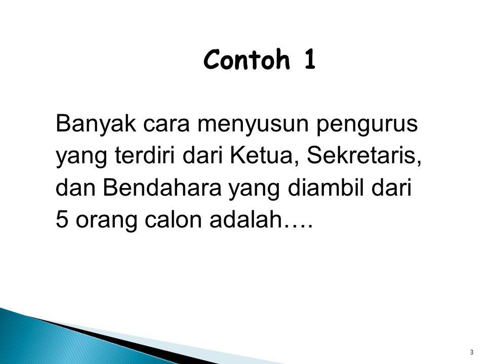 3 Contoh 1 Banyak cara menyusun pengurus yang terdiri dari Ketua, Sekretaris, dan Bendahara yang diambil dari 5 orang calon adalah….