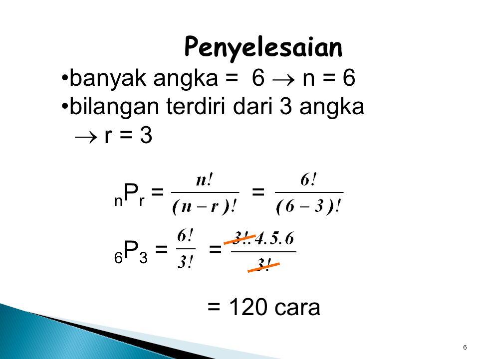 7 Kombinasi Kombinasi r unsur dari n unsur yang tersedia (ditulis C r n atau n C r ) adalah banyak cara mengelompokan r unsur yang diambil dari sekumpulan n unsur yang tersedia.