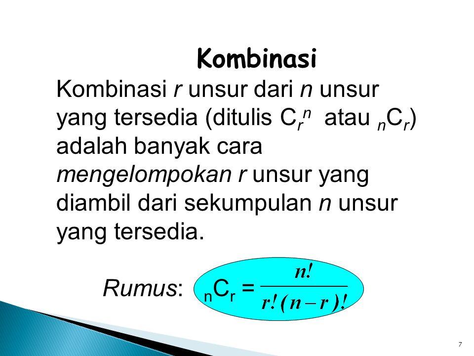 7 Kombinasi Kombinasi r unsur dari n unsur yang tersedia (ditulis C r n atau n C r ) adalah banyak cara mengelompokan r unsur yang diambil dari sekump
