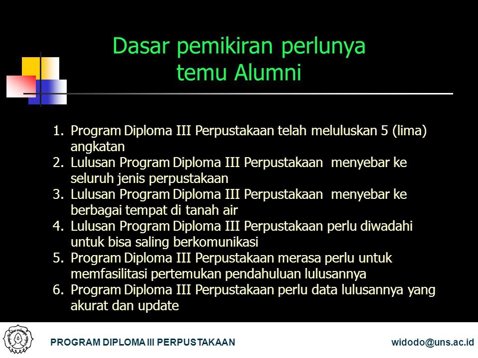 Dasar pemikiran perlunya temu Alumni PROGRAM DIPLOMA III PERPUSTAKAANwidodo@uns.ac.id 1.Program Diploma III Perpustakaan telah meluluskan 5 (lima) ang