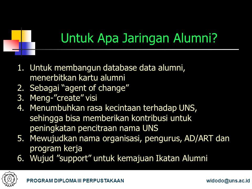 Untuk Apa Jaringan Alumni? PROGRAM DIPLOMA III PERPUSTAKAANwidodo@uns.ac.id 1.Untuk membangun database data alumni, menerbitkan kartu alumni 2.Sebagai