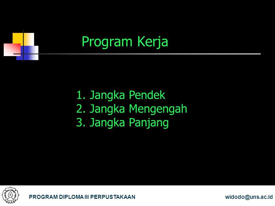 Program Kerja PROGRAM DIPLOMA III PERPUSTAKAANwidodo@uns.ac.id 1.Jangka Pendek 2.Jangka Mengengah 3.Jangka Panjang