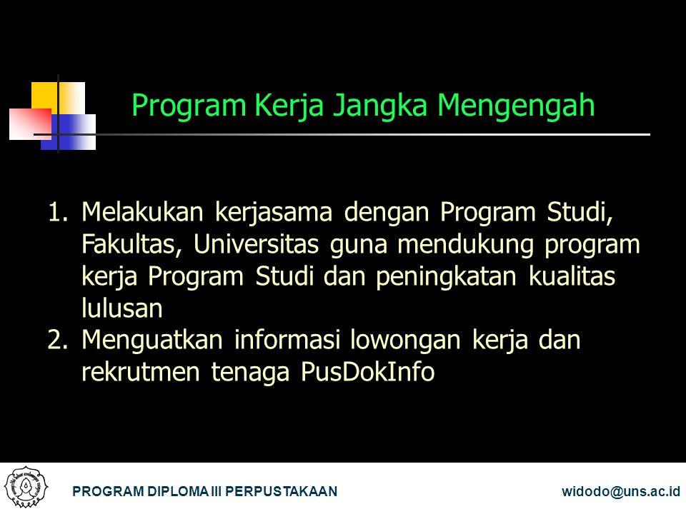 Program Kerja Jangka Mengengah PROGRAM DIPLOMA III PERPUSTAKAANwidodo@uns.ac.id 1.Melakukan kerjasama dengan Program Studi, Fakultas, Universitas guna