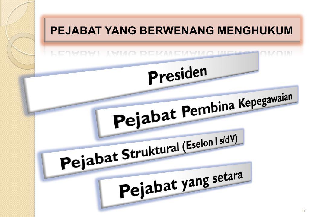 7 Presiden Menjatuhkan hukuman disiplin tingkat berat bagi pejabat struktural Eselon I dan jabatan lain yang pengangkatan dan pemberhentiannya menjadi wewenang Presiden