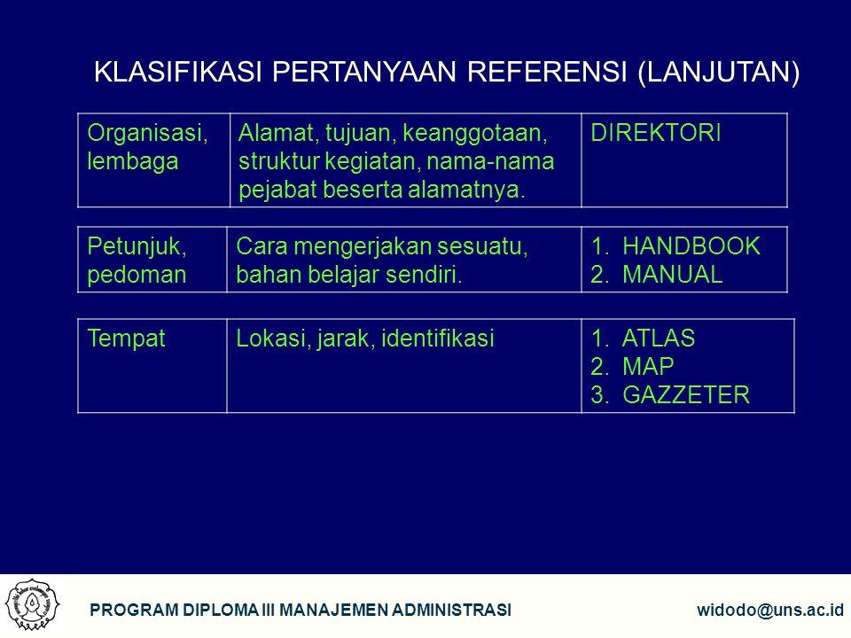 15 PROGRAM DIPLOMA III MANAJEMEN ADMINISTRASIwidodo@uns.ac.id KLASIFIKASI PERTANYAAN REFERENSI (LANJUTAN) Organisasi, lembaga Alamat, tujuan, keanggot