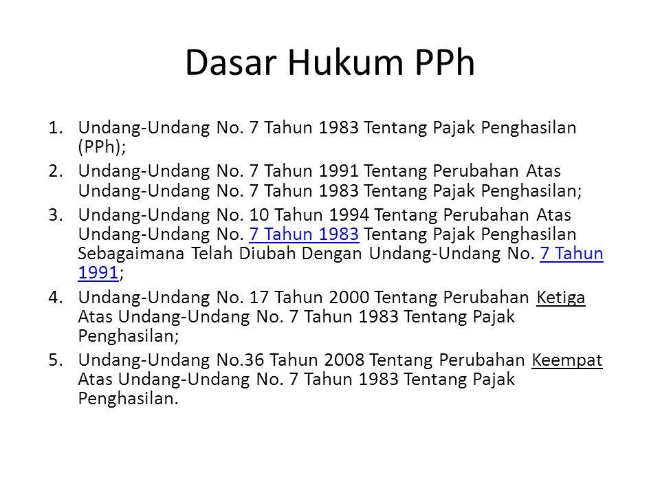 Dasar Hukum PPh 1.Undang-Undang No. 7 Tahun 1983 Tentang Pajak Penghasilan (PPh); 2.Undang-Undang No. 7 Tahun 1991 Tentang Perubahan Atas Undang-Undan