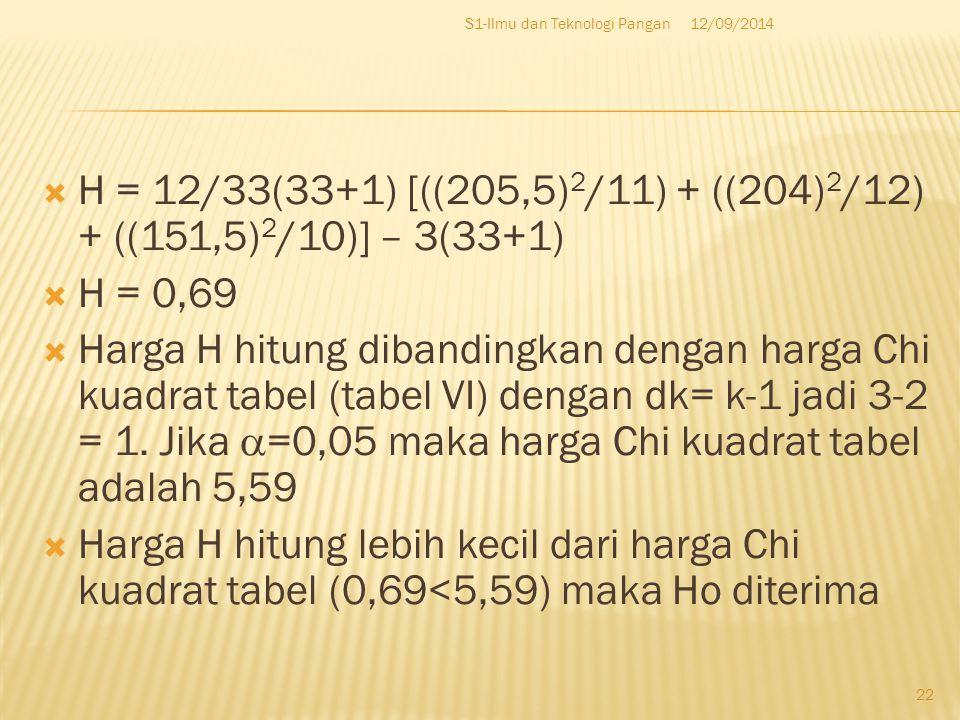  H = 12/33(33+1) [((205,5) 2 /11) + ((204) 2 /12) + ((151,5) 2 /10)] – 3(33+1)  H = 0,69  Harga H hitung dibandingkan dengan harga Chi kuadrat tabel (tabel VI) dengan dk= k-1 jadi 3-2 = 1.