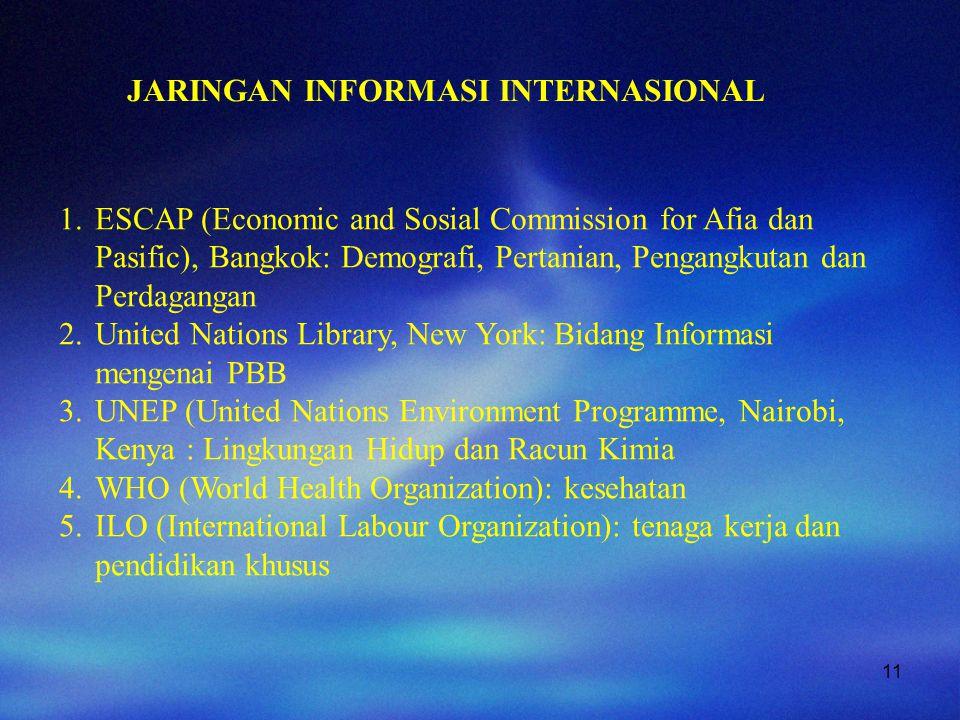 11 JARINGAN INFORMASI INTERNASIONAL 1.ESCAP (Economic and Sosial Commission for Afia dan Pasific), Bangkok: Demografi, Pertanian, Pengangkutan dan Per