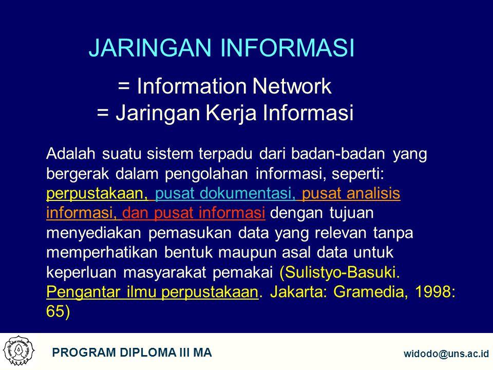4 PROGRAM DIPLOMA III MA widodo@uns.ac.id TUJUAN 1.Menjalin hubungan kerjasama antar lembaga atau pusat informasi 2.Untuk memperoleh dan mengkomunikasikan informasi kepada khalayak (pertukaran informasi) 3.Saling meringankan beban anggota jaringan dalam rangka pemenuhan kebutuhan informasi 4.Mempermudah proses pengumpulan informasi 5.Mempermudah dalam pemencaran informasi 6.Memperbanyak khasanah informasi