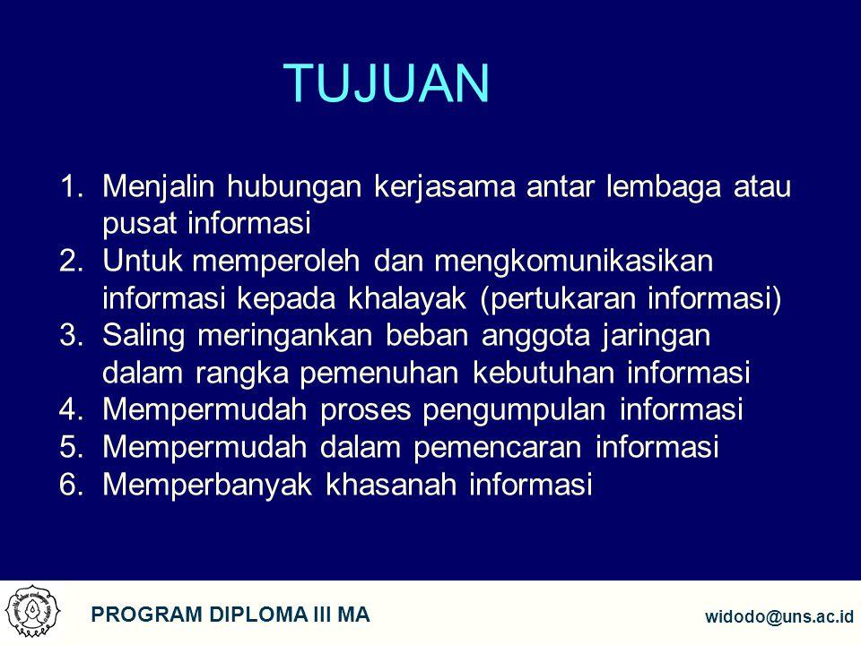 4 PROGRAM DIPLOMA III MA widodo@uns.ac.id TUJUAN 1.Menjalin hubungan kerjasama antar lembaga atau pusat informasi 2.Untuk memperoleh dan mengkomunikas