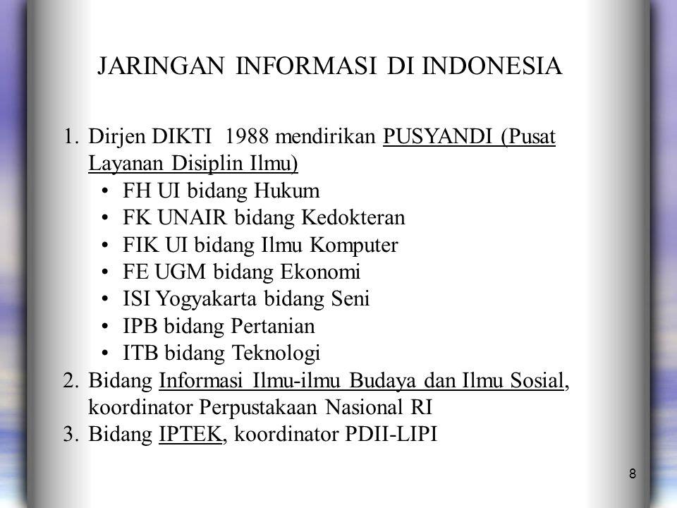 8 JARINGAN INFORMASI DI INDONESIA 1.Dirjen DIKTI 1988 mendirikan PUSYANDI (Pusat Layanan Disiplin Ilmu) FH UI bidang Hukum FK UNAIR bidang Kedokteran