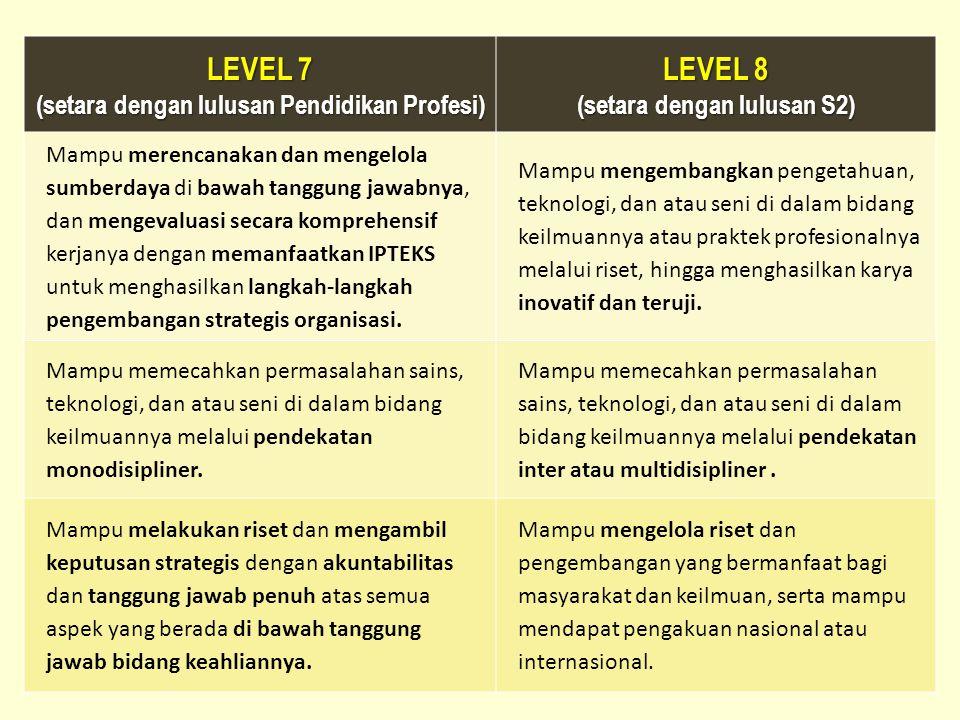 LEVEL 7 (setara dengan lulusan Pendidikan Profesi) LEVEL 8 (setara dengan lulusan S2) Mampu merencanakan dan mengelola sumberdaya di bawah tanggung ja