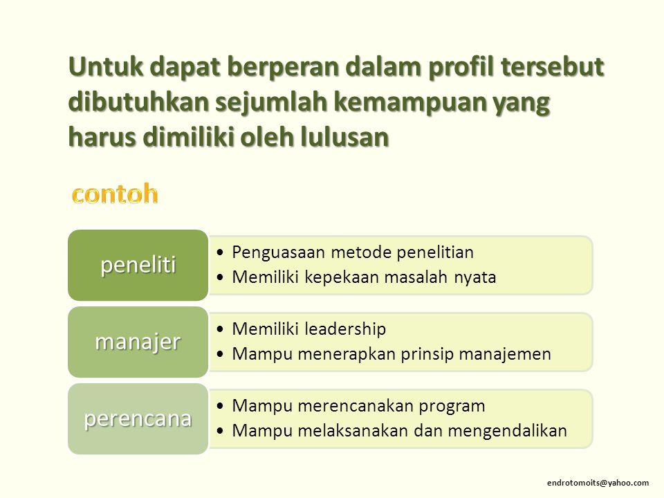 Untuk dapat berperan dalam profil tersebut dibutuhkan sejumlah kemampuan yang harus dimiliki oleh lulusan endrotomoits@yahoo.com