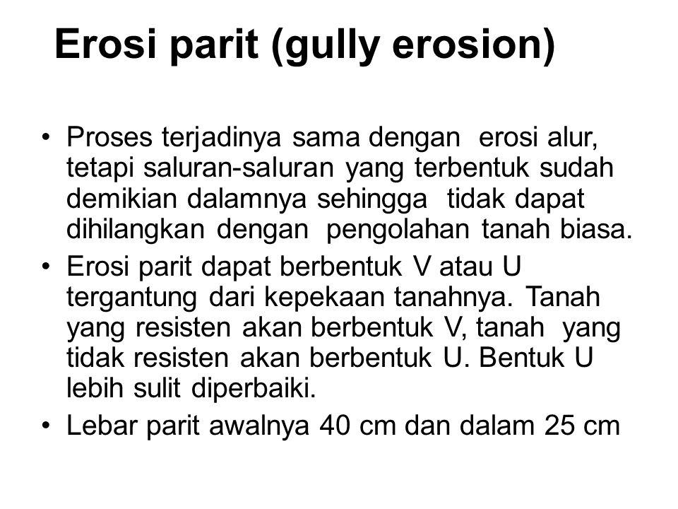 Erosi parit (gully erosion) Proses terjadinya sama dengan erosi alur, tetapi saluran-saluran yang terbentuk sudah demikian dalamnya sehingga tidak dapat dihilangkan dengan pengolahan tanah biasa.