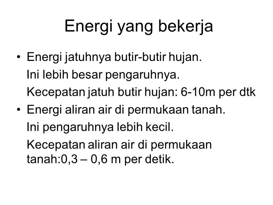 Energi yang bekerja Energi jatuhnya butir-butir hujan. Ini lebih besar pengaruhnya. Kecepatan jatuh butir hujan: 6-10m per dtk Energi aliran air di pe